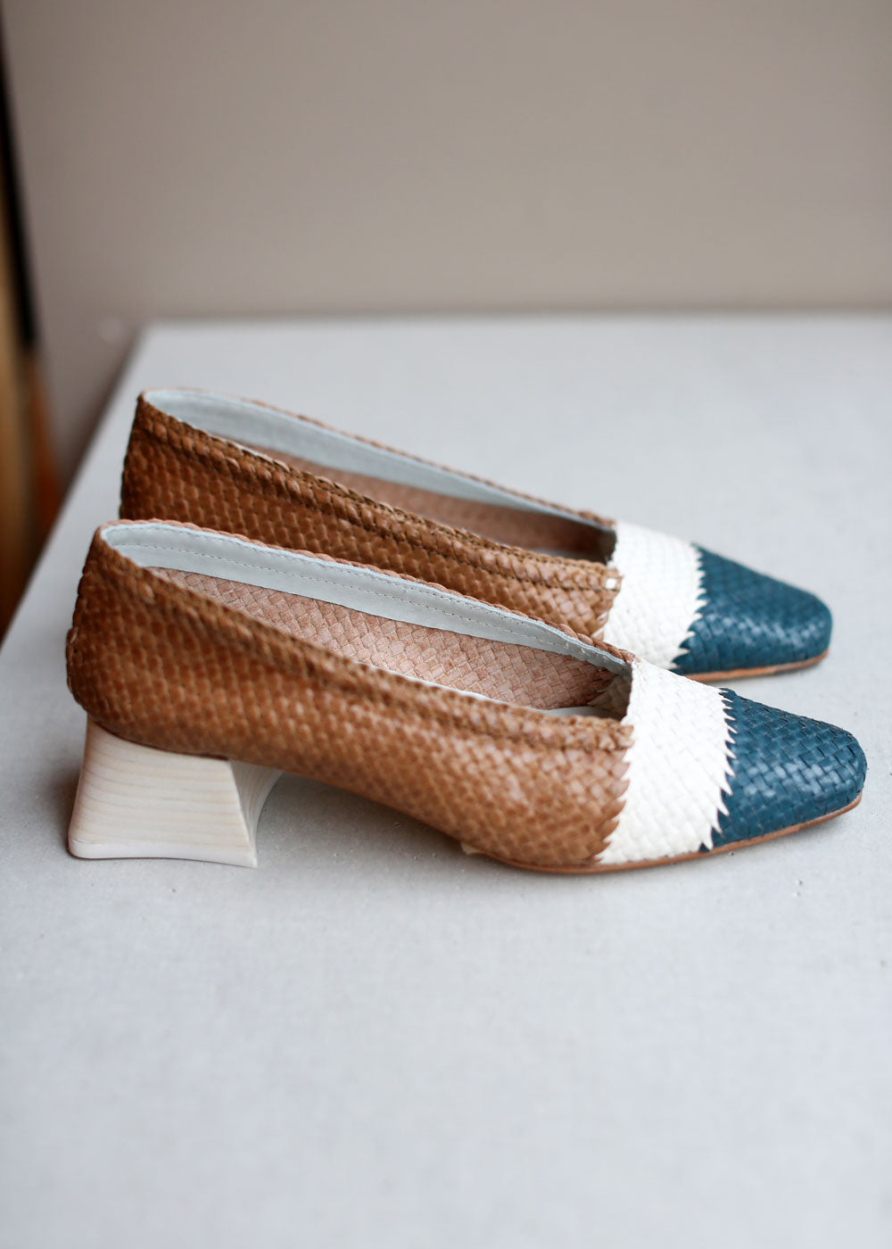 MIISTA - Eivissa Natural Mix Woven Leather Heels