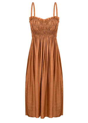 ANNA OCTOBER - Ruched Midi Dress - ochre
