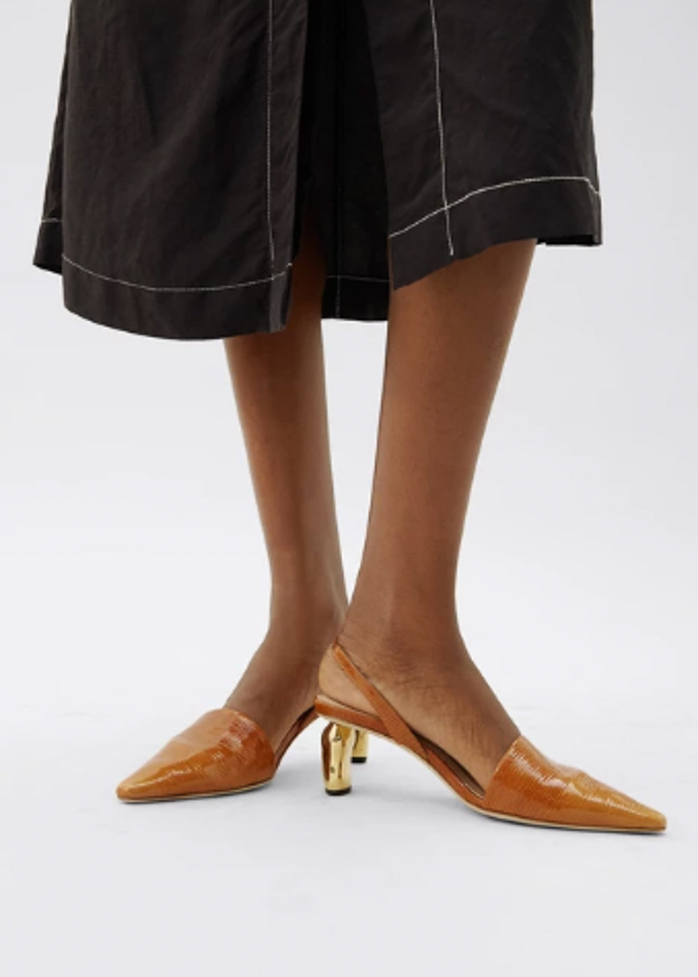 Conie Slingback Shoes - patent leather emboss almond