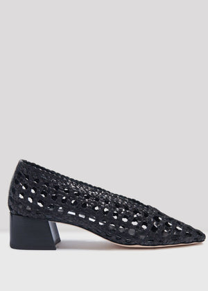 MIISTA - Taissa Black Woven Leather Heels