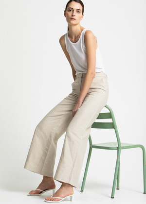 House of Dagmar - mindy linen pants - sand