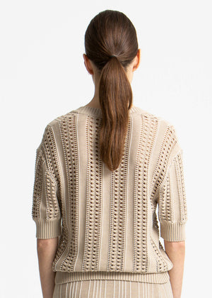 house of dagmar - Tonya top - sand multi stripe