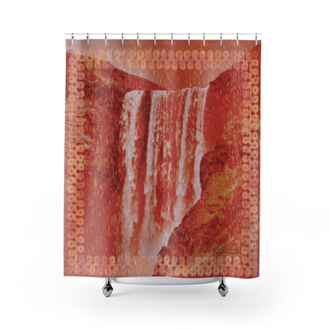 Floki's Waterfall Shower Curtain - Red