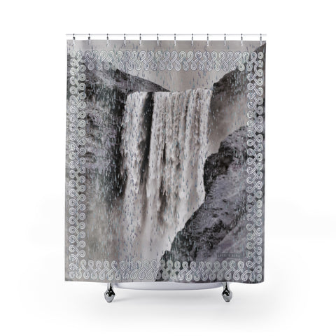 Floki's Waterfall Shower Curtain - Black and White