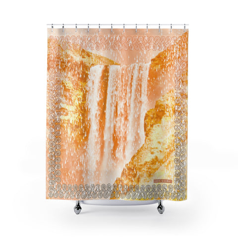 Floki's Waterfall Shower Curtain - Gold-Orange