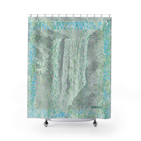 Floki's Waterfall Shower Curtain - Light Turquoise-Green-Grey