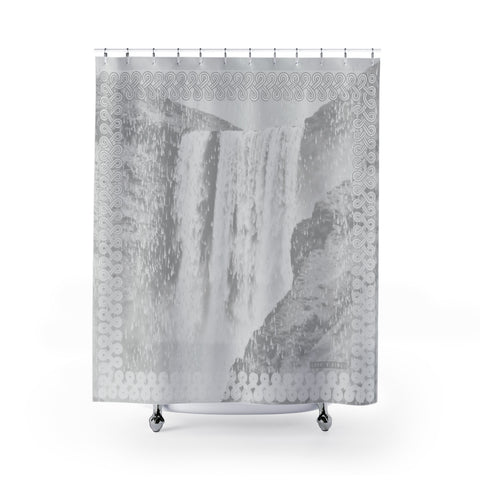 Floki's Waterfall Shower Curtain - White light-grey