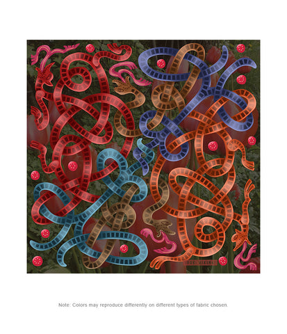 Viking Autumn Dark Red-Blue Jellinge 1 Silk-like Poly Scarf (4 sizes-3 fabrics)