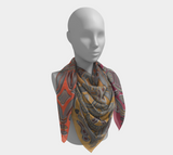 Viking Iron-Grey and Multicolor Borre 1 Silk-like Poly Scarf (4 sizes-3 fabrics)
