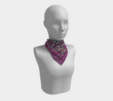 Viking Autumn Violet-Dark Red-Grey Jellinge 1 Silk-like Poly Scarf (4 sizes-3 fabrics)