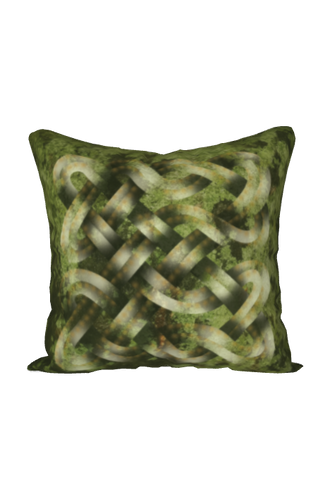 Viking Knot Green Faux Suede Square Pillow