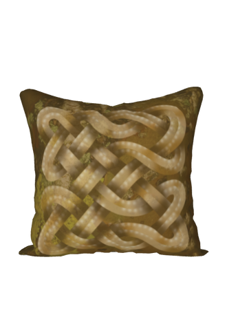 Viking Knot Golden Brown Faux Suede Square Pillow