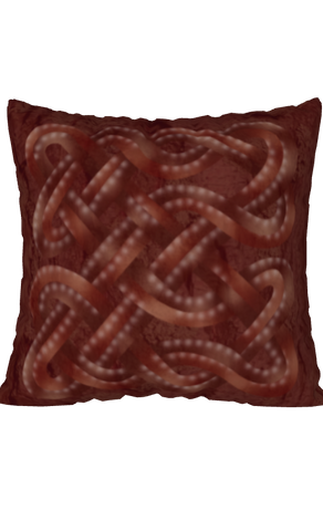 Viking Knot Dark Red Faux Suede Square Pillow Case