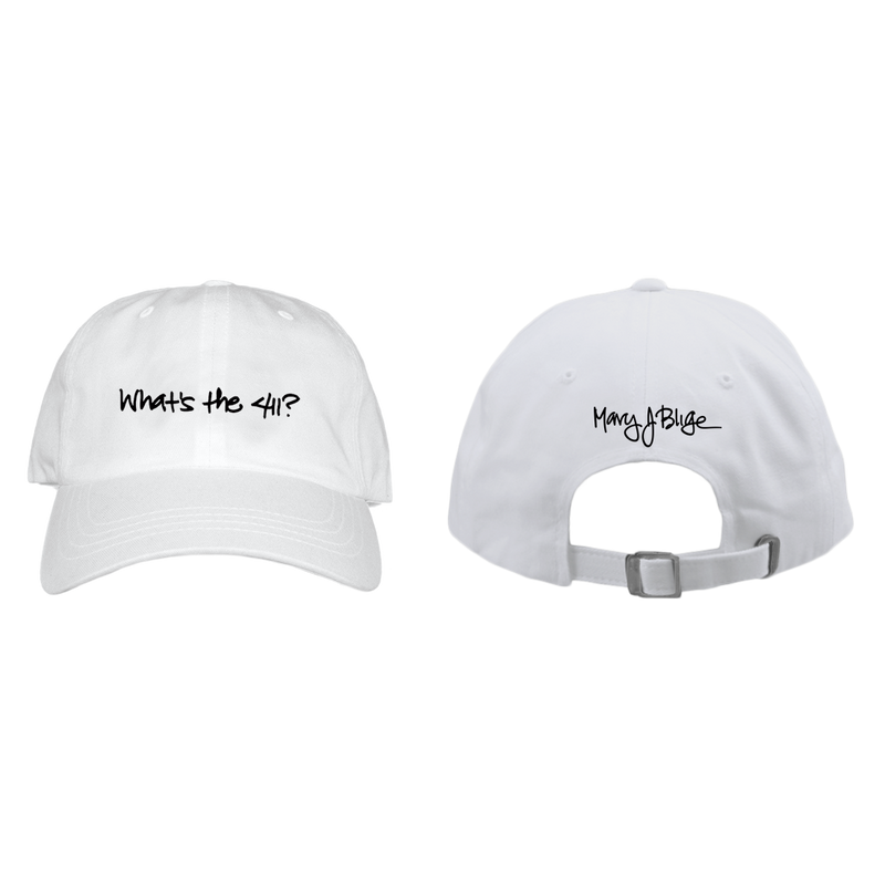 Mary J Blige 411 Logo - Mens White Baseball Hat