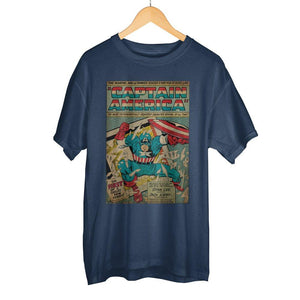Classic Captain America Marvel Comic Book Cover Artwork Men's Navy Blue Graphic Print Boxed Cotton T-Shirt