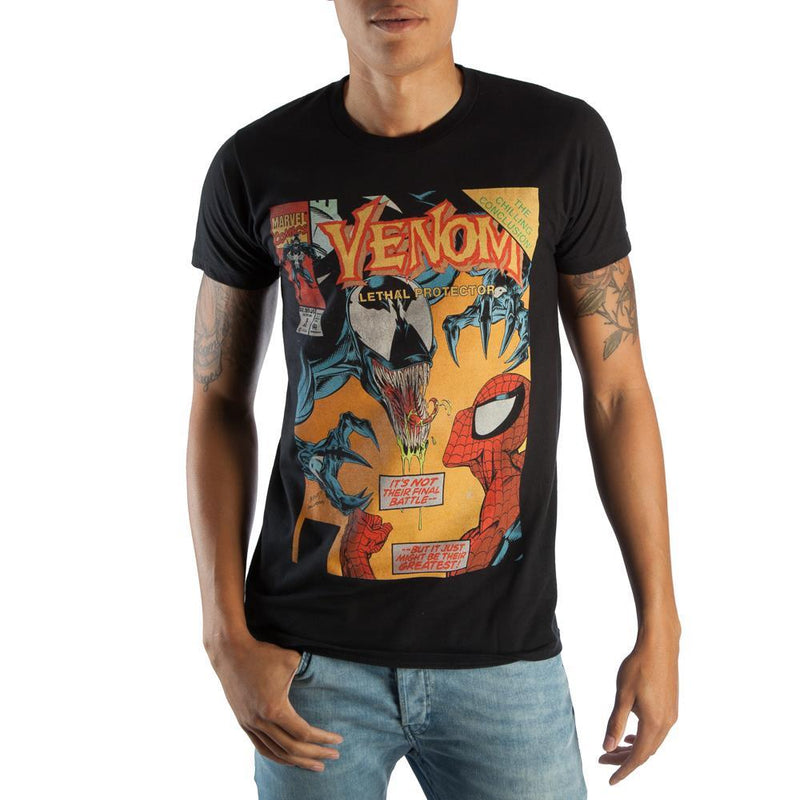 Classic Venom Marvel Comic Book Cover Artwork Men's Black Graphic Print Boxed Cotton T-Shirt