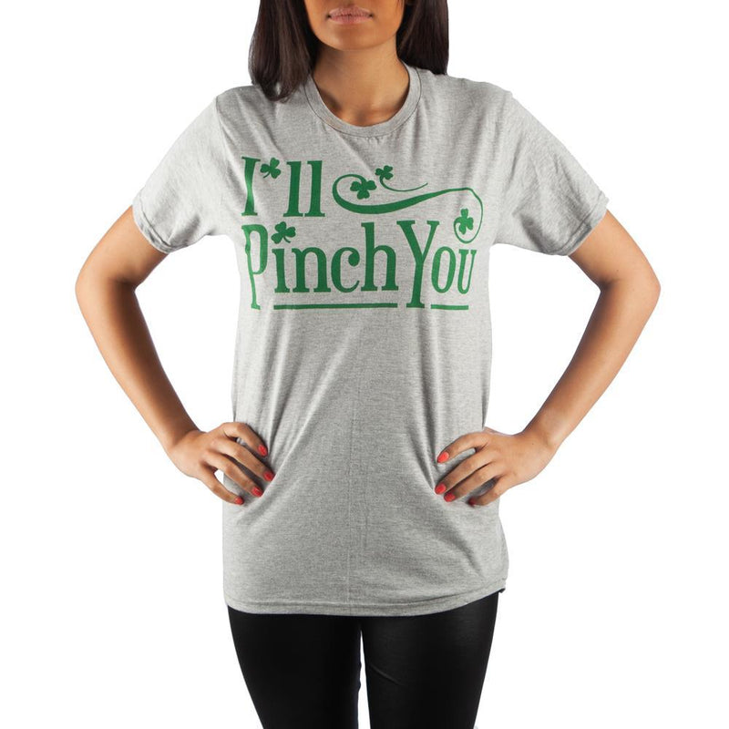 St. Patrick's Day I'll Pinch You Shamrock Men's Gray T-Shirt Tee Shirt