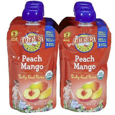 Earth's Best Baby Foods Puree Peach Mango (12x4OZ )