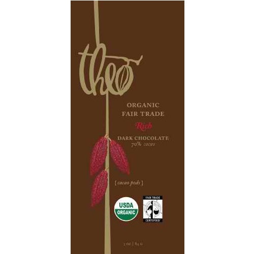 Theo Chocolate Dark Chocolate 70% Cacao Bar (12x3Oz)