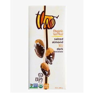 Theo Organic Salted Almond 70% Dark Chocolate (12x3 OZ)
