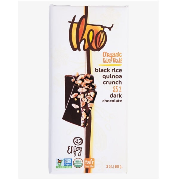 Theo Black Rice Quinoa Crunch 85% Dark Chocolate (12x3 OZ)