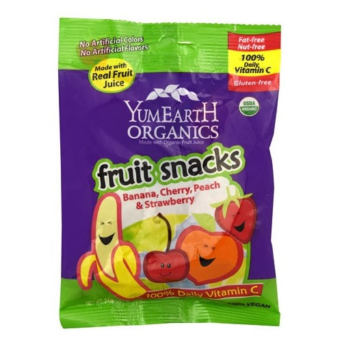 YumEarth Fruit Snacks, Banana, Cherry, Peach & Strawberry (12x2 OZ)