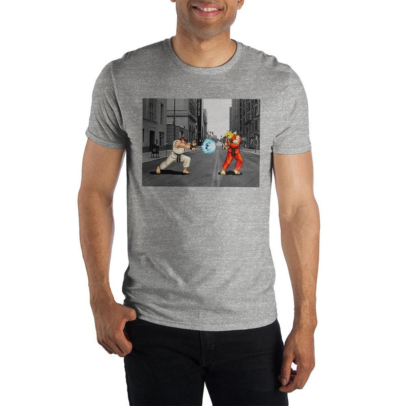 Ryu And Ken Street Fighter Men's Gray T-Shirt Tee Shirt