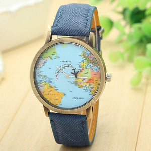 Fashion Watch Woman 2017 PU Leather Global Travel By Plane Map Quartz Wrist watch Women Clock Female Montre Femme