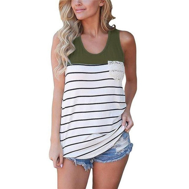 2017 Summer Sexy Pack hip Tank Top Women's Fashion Stripe Lace Pocket Crop Top Sleeveless Slim Tops
