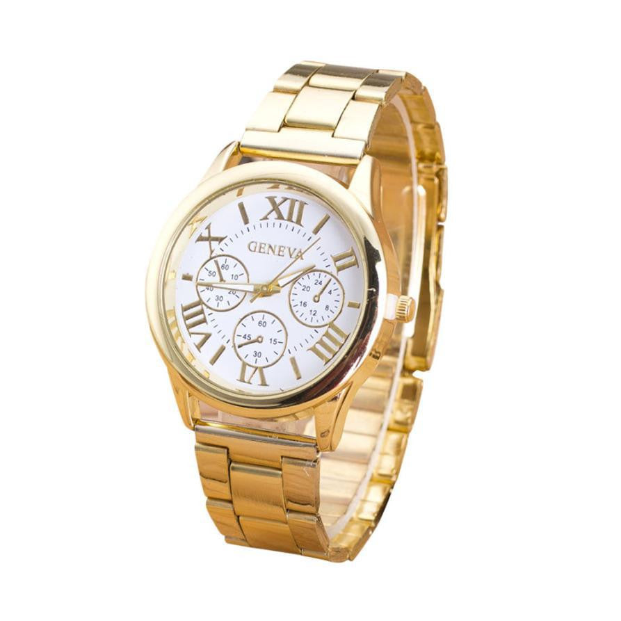 2017 Luxury Stianless Steel Gold Watches Womens Geneva Quartz  Wrist Watch for Women free shipping Montre Femme