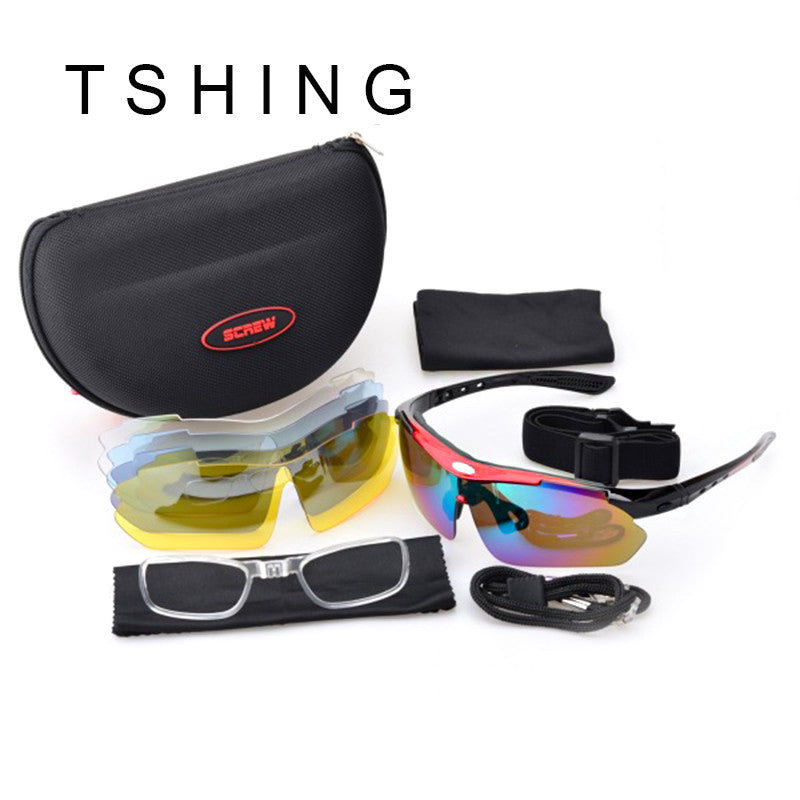 Driving Glasses With 5 Lens Polarized Men Night Vision Sun Glasses Outdoor Sports Glasses Hiking Sunglasses Goggles Eyewear