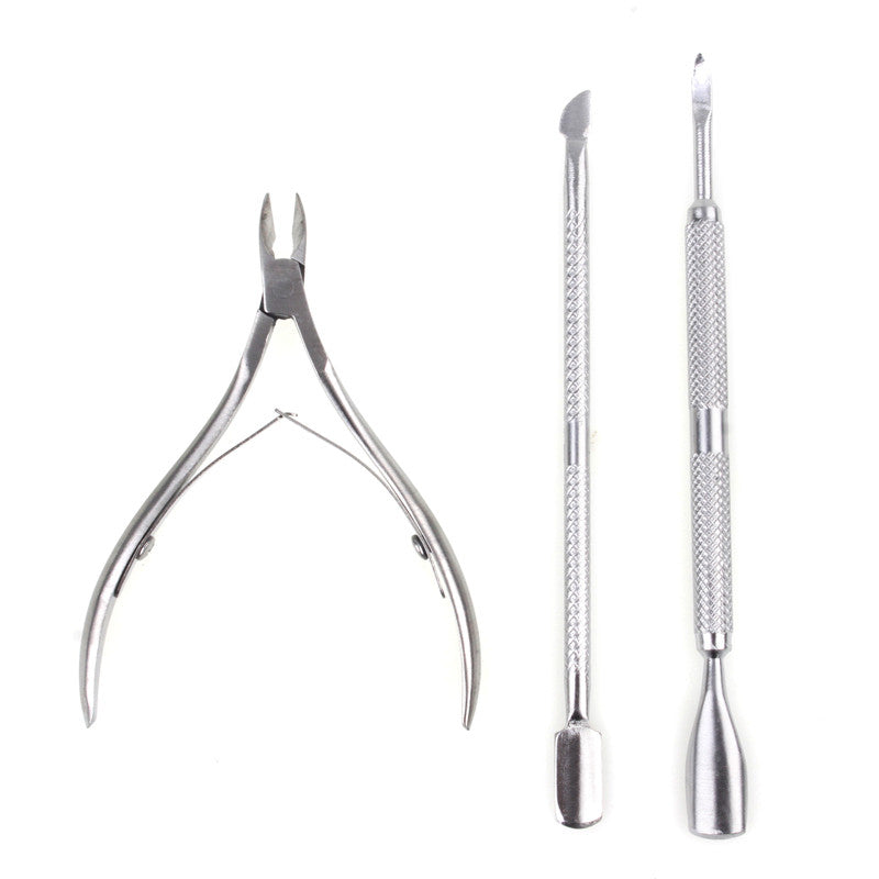 3Pcs/Lot Stainless Steel Nail Cuticle Set Pusher Spoon Remover Cutter Nipper Clipper Nail Polish Tools For Manicure