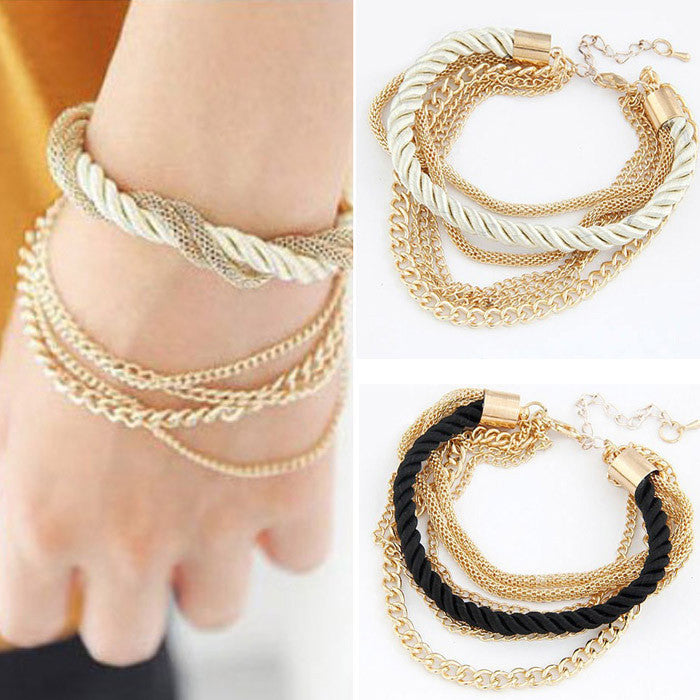 Fashion 2 colors luxury braided multilayer bracelet alloy bangle bracelets fashion jewelry