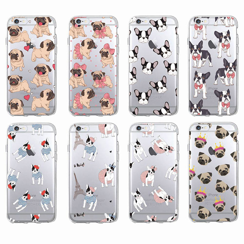 Cute Puppy French Bulldog Soft Phone Case For iPhone 7Plus 6 6S 6Plus 8 8plus X Samsung
