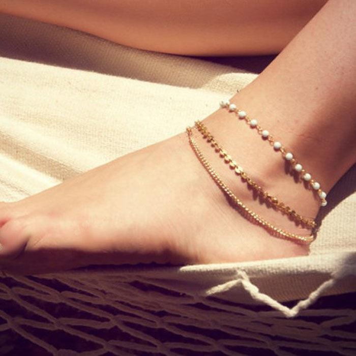 Fashion Lady Beach Multi Tassel Sequins Bare Anklet Chain Foot Jewelry WH
