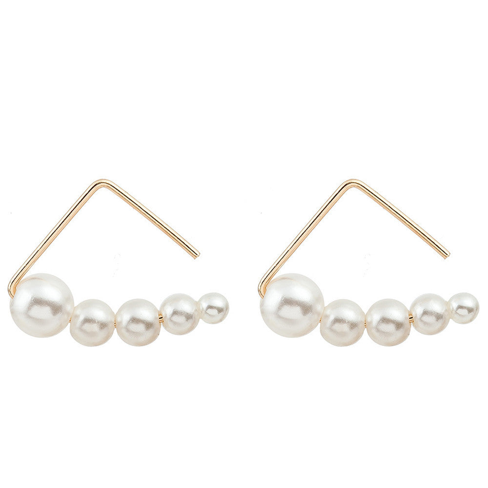 Minimalist pearl Earrings Geometric Retro Triangle Earrings Stud Earrings