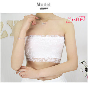 Fashion Floral Lace Strapless Orchid Pattern Boob Bandeau Tube Tops Bra for Women Ladies