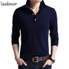 Top Grade New Fashion Men Polo Shirt Solid Color Slim Fit Polo Men Long Sleeve Mercerized Cotton Casual Polos Shirt Mens M-4XL