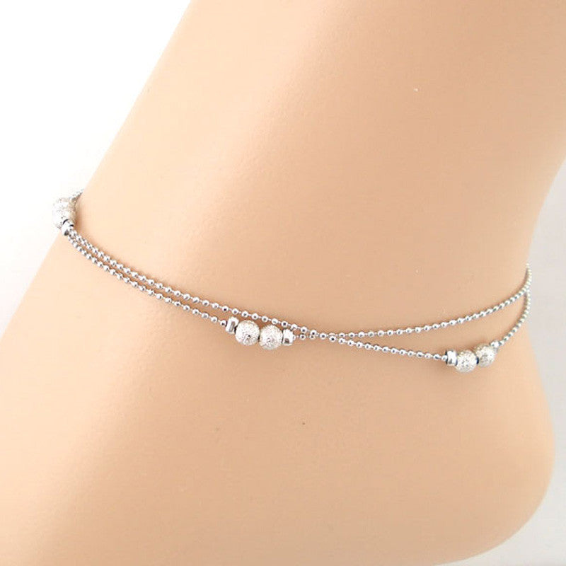 Double Matte Beads Women Chain Anklet Bracelet Sandal Beach Foot Jewelry