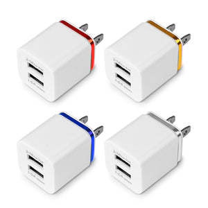 POWSTRO USB Wall Charger Travel Dual Port Adapter For iPhone Samsung iPad Android Phone Charger US Plug or EU Plug 1A 2.1A