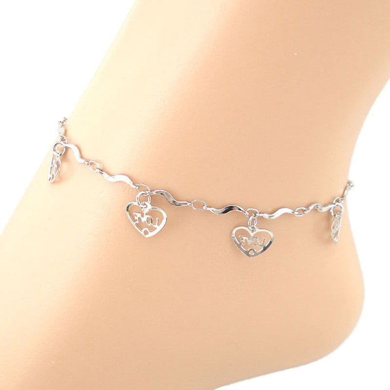 LOVE Heart-shaped Curve Anklet Bracelet Sandal Barefoot Beach Foot Jewelry