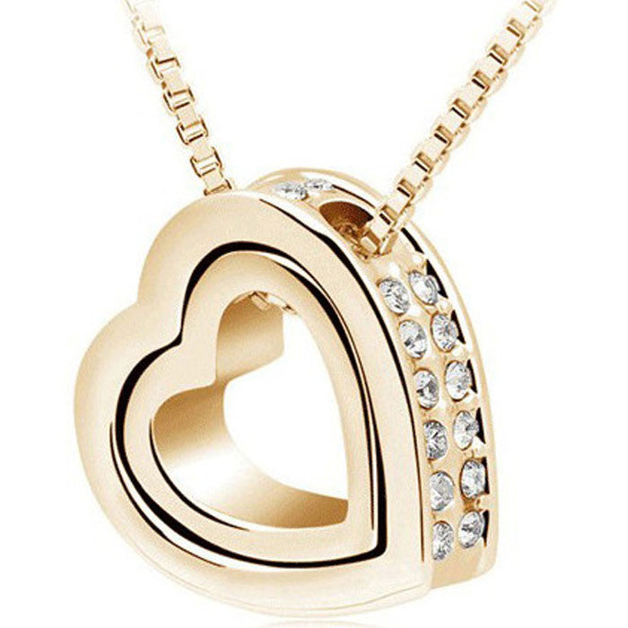Fashion Women Double Hearts White Crystal Rhinestone Gold Necklaces
