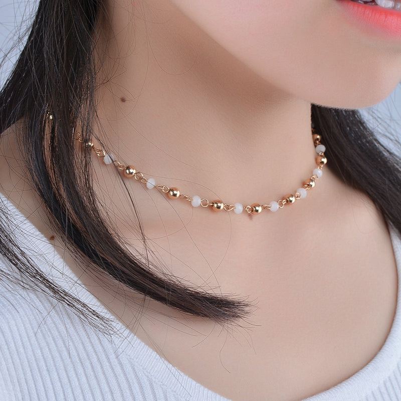 Women Fashion Accessories Crystal Sequins Necklace Tassel Flash Gift