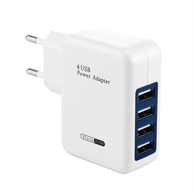 Universal 5V 3.1A USB Power Adapter EU US Plug 4Ports Int'l Travel Wall Charger/Converter for Phone