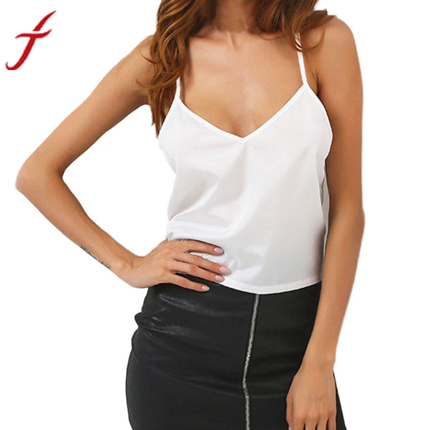 2017 Summer New Women Camis V Neck Vest Lace Hollow Out Backless White Spaghetti Strap Women Sexy Tops Satin Camisole