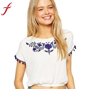 Embroidered T Shirt Women Short Sleeve Shirt Fashion Tassel Round Collar Vest Top Femininas Blusa Tees Tops