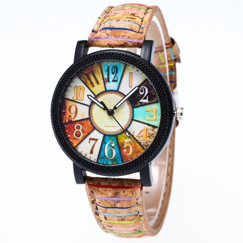 High Quality Women's Watch Harajuku Graffiti Pattern Leather Band Analog Quartz Vogue Wrist Watches