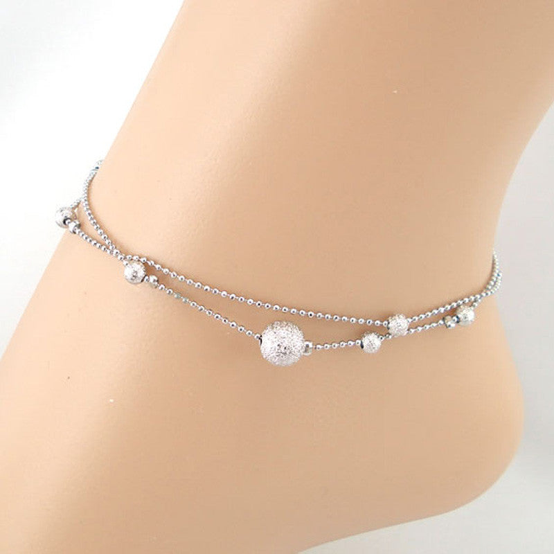 Frosted Double Chain Large Ball Anklet Bracelets Sandal Beach Foot Jewelry