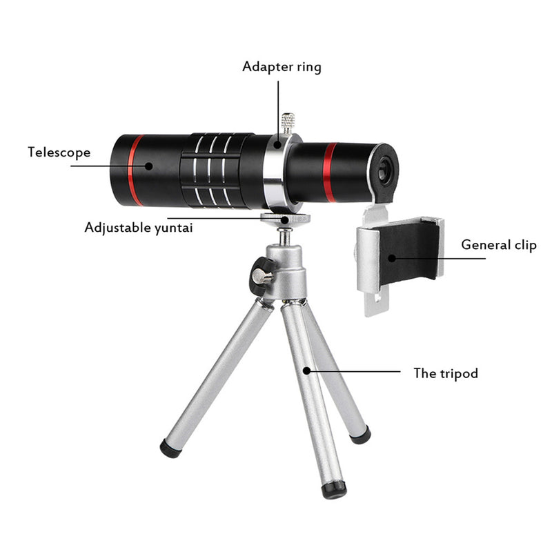 Powstro Mobile Phone Telescope 18X Optical Zoom Lens W/Tripod For iPhone iPad Samsung Tablet