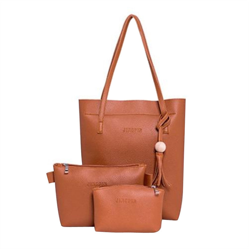 3 Pcs Women Lady PU Leather Handbag Shoulder Bag Tote Purse Messenger Bag